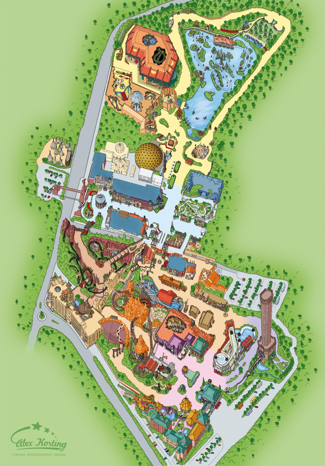Phantasialand Park Karte.Sommer Summer 2009 Alex Korting Themed Entertainment Design
