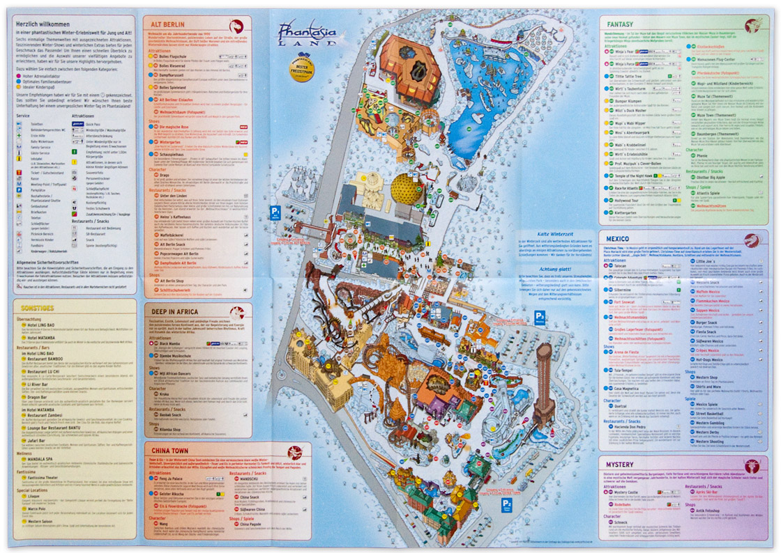 Parkmap Phantasialand Brühl Winter 2009/10