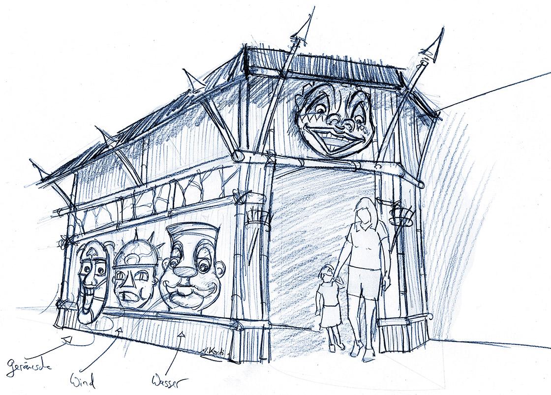 Skizze einer möglichen Fassade, die den Dschungelstil des Interieurs nach außen bringt für den Indoorplayground im Hansa Park..