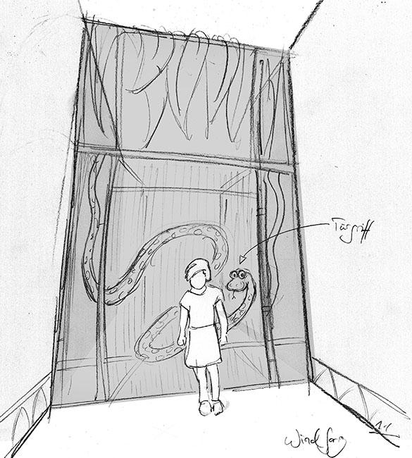 Skizze des Windfangs für den Indoorplayground im Hansa Park