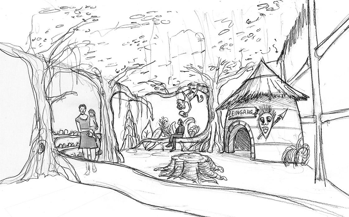 Skizze des Eingangsbereich mit Aufenthaltsbereich für die Eltern zum Relaxen während ihre Kinder rechts im Dschungel des Indoorspielplatzes toben. Im Vordergrund ist eine Kleinkindzone vorgesehen.
