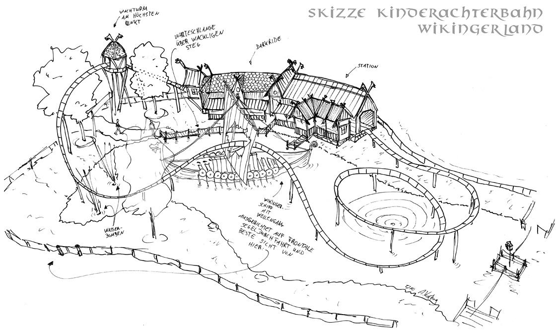 Skizze für Die Schlange von Midgard im Hansa Park