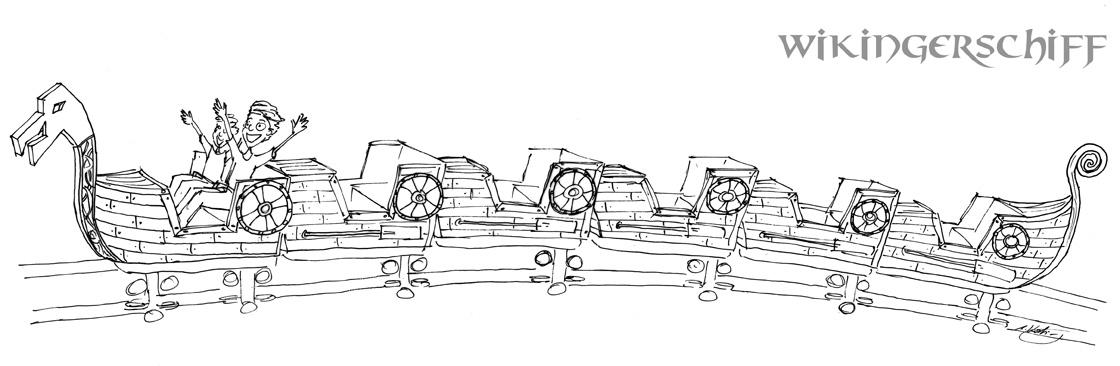 Zugdesign Wikingerschiff für Die Schlange von Midgard im Hansa Park