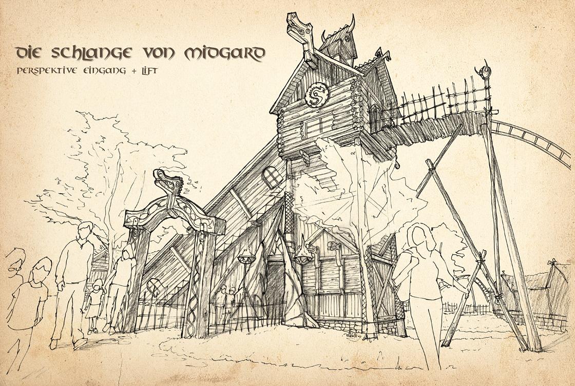 Eingangsperspektivzeichnung für Die Schlange von Midgard im Hansa Park
