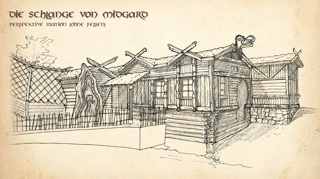 Stationszeichnung für Die Schlange von Midgard im Hansa Park