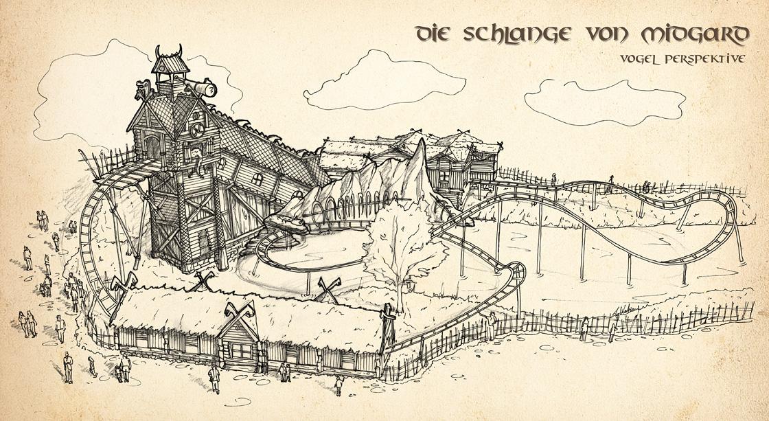 Zeichnung Vogelperspektive für Die Schlange von Midgard im Hansa Park