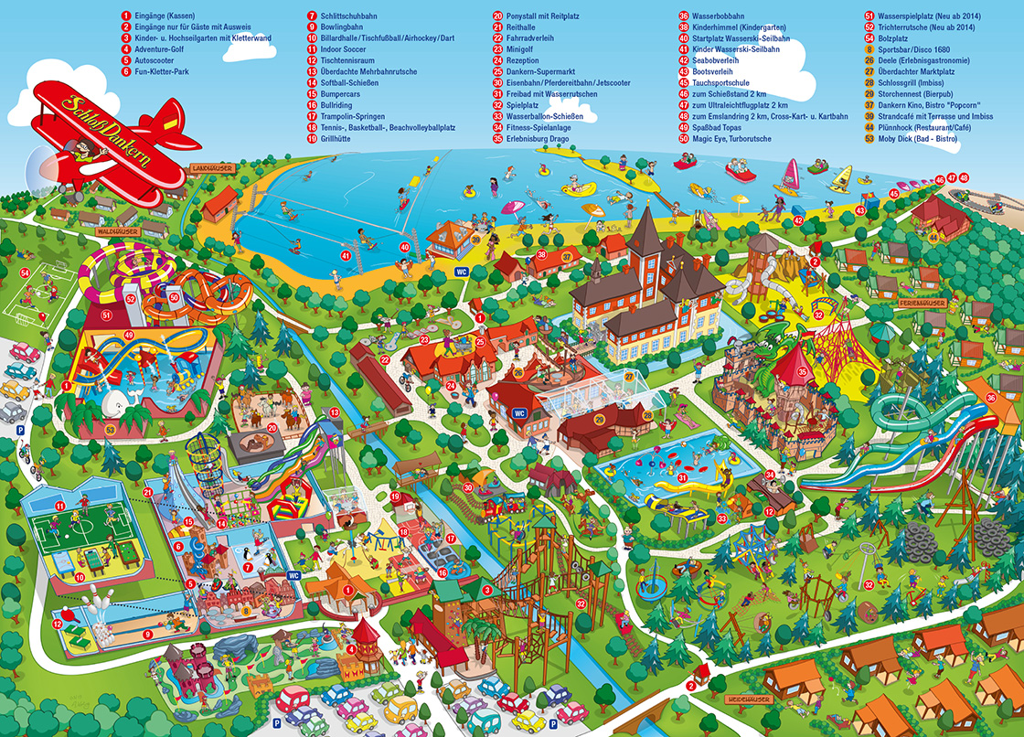 neuer Parkplan Schloss Dankern mit Legende - new park map design Schloss Dankern with key