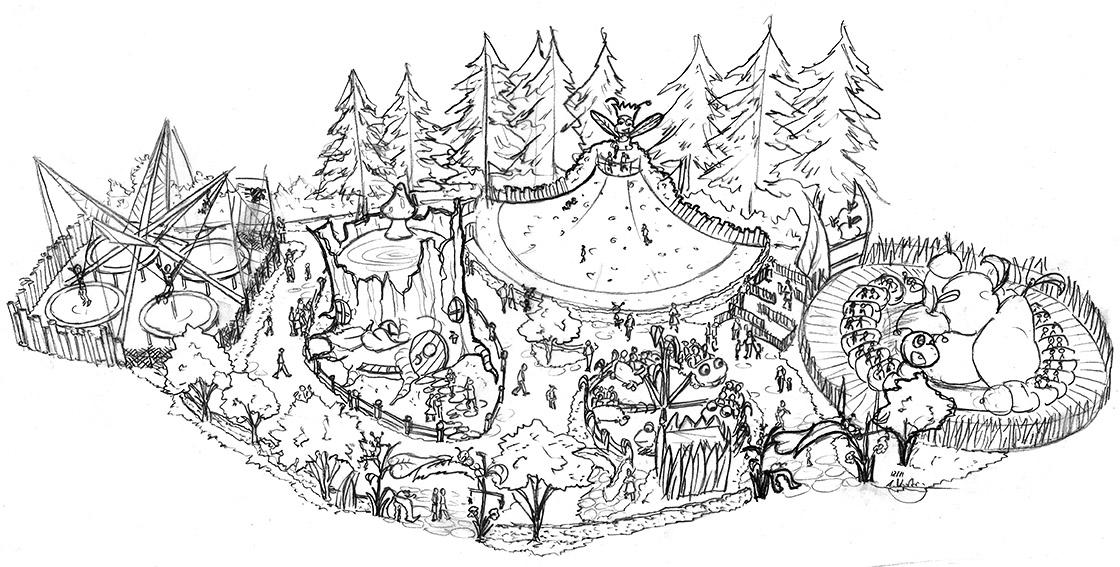 Zeichnung Vogelperspektive Themenpark Design Tusenfryd
