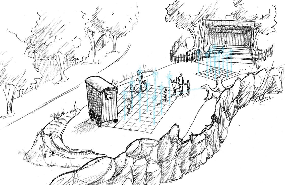 Design Wasserspielplatz mit Fontänen für Hansa Park, Waterplayground Design for Hansa Park