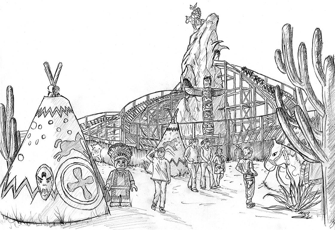 Zeichnung der Holzachterbahn für das Legoland Deutschland mit Cowboy und Indianer Thema