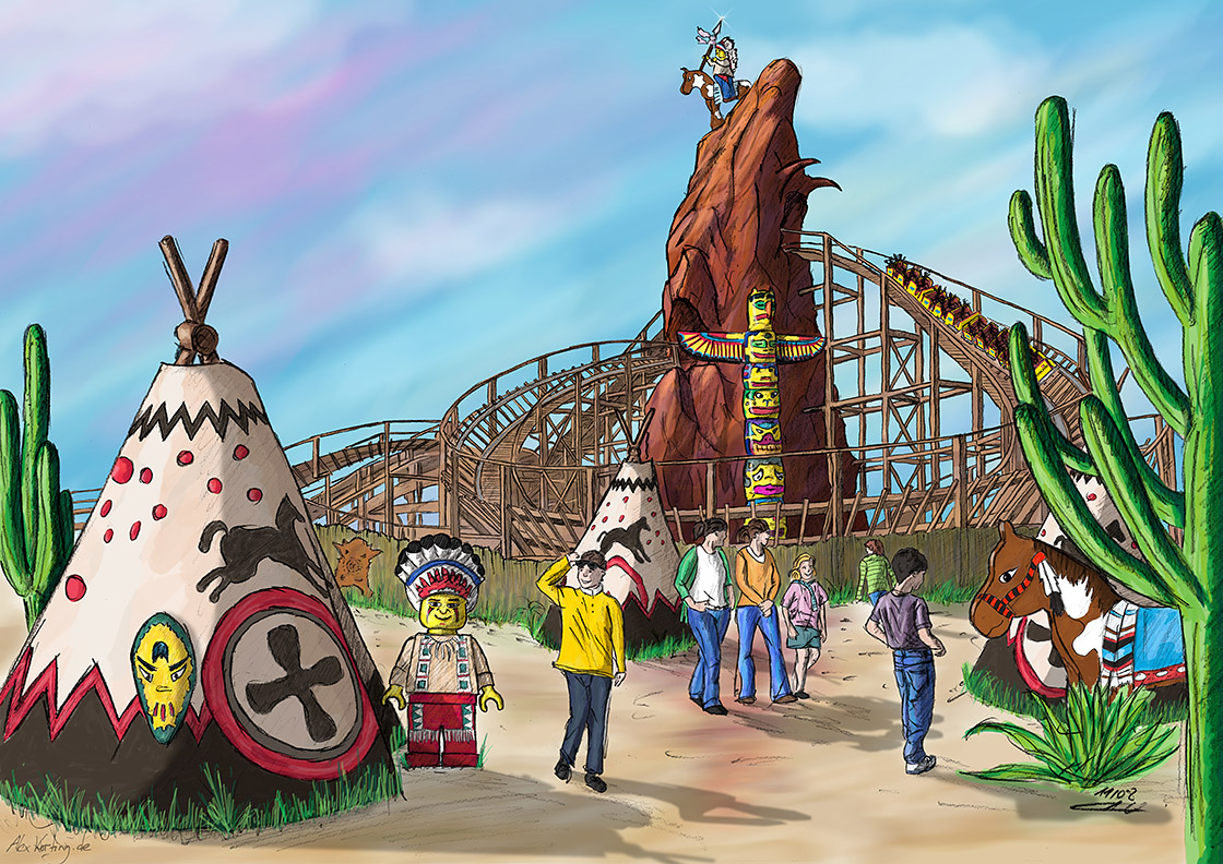 Concept design for a Legoland wooden roller coaster with a cowboys and indians theme