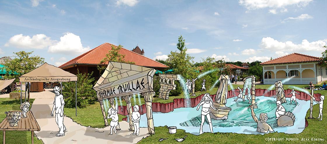 Wasserspielplatz Design für Erlebnispark Tripsdrill