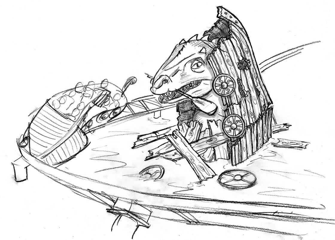 Integration der Seeschlange im zerbrochenen Wikingerschiff