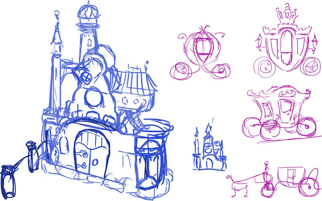 Skizzen für das Märchenschloss als Rückwand der Fahrattraktion.