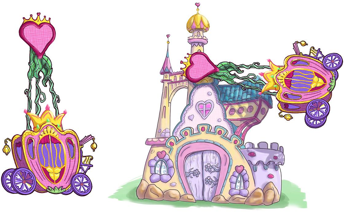 Die schaukelnde Kutsche wartet vor dem Schloss auf die kleinen Prinzessinnen.