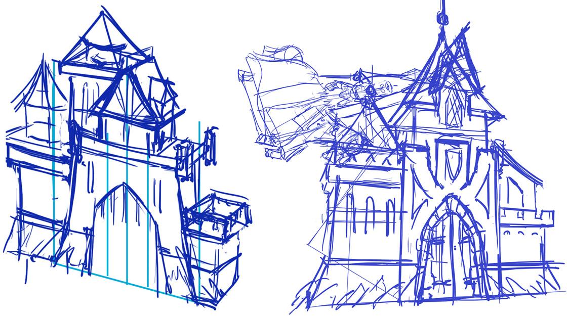 Skizze der Ritterburg Attraktion