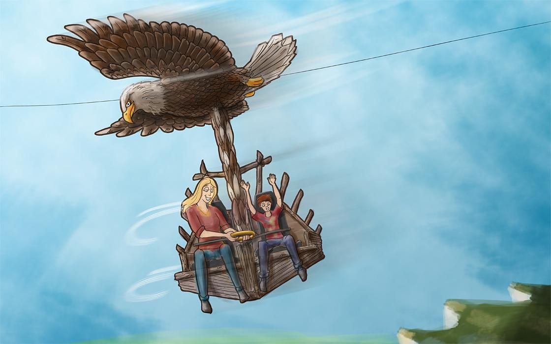 Ein gewaltiger Adler reißt die Gäste auf dem SkyDive mit sich in die Lüfte