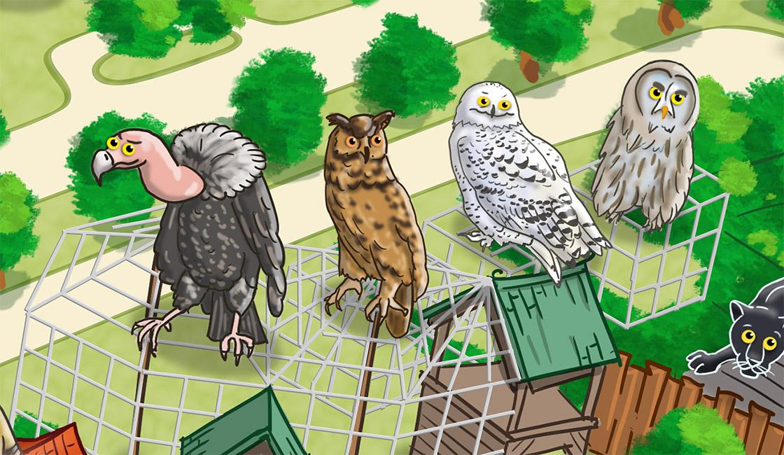 Parkplan Nadermanns Tierpark Uhu, Geier, Kauz und Schneeeule