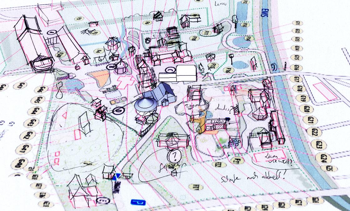 Parkplan Nadermanns Tierpark erste Skizze