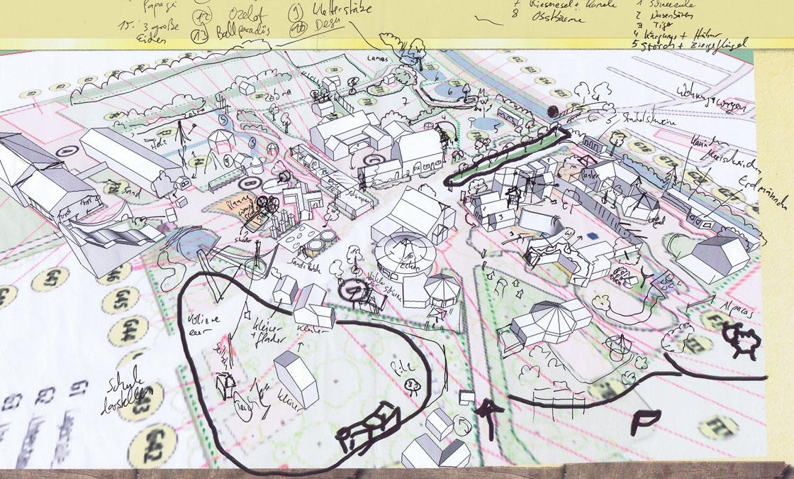 Parkplan Nadermanns Tierpark Skizze