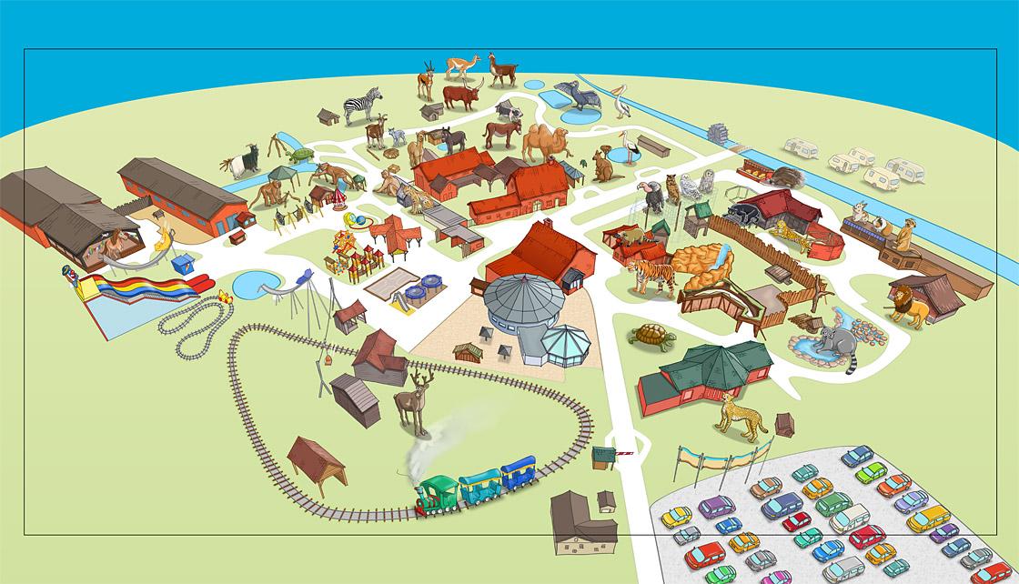 Parkplan Nadermanns Tierpark colorierte Zeichnung mit Tieren