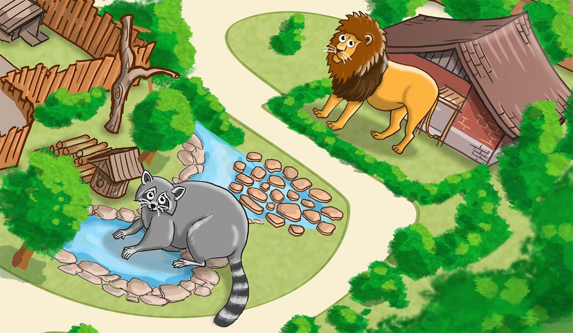 Parkplan Nadermanns Tierpark Löwe und Waschbär