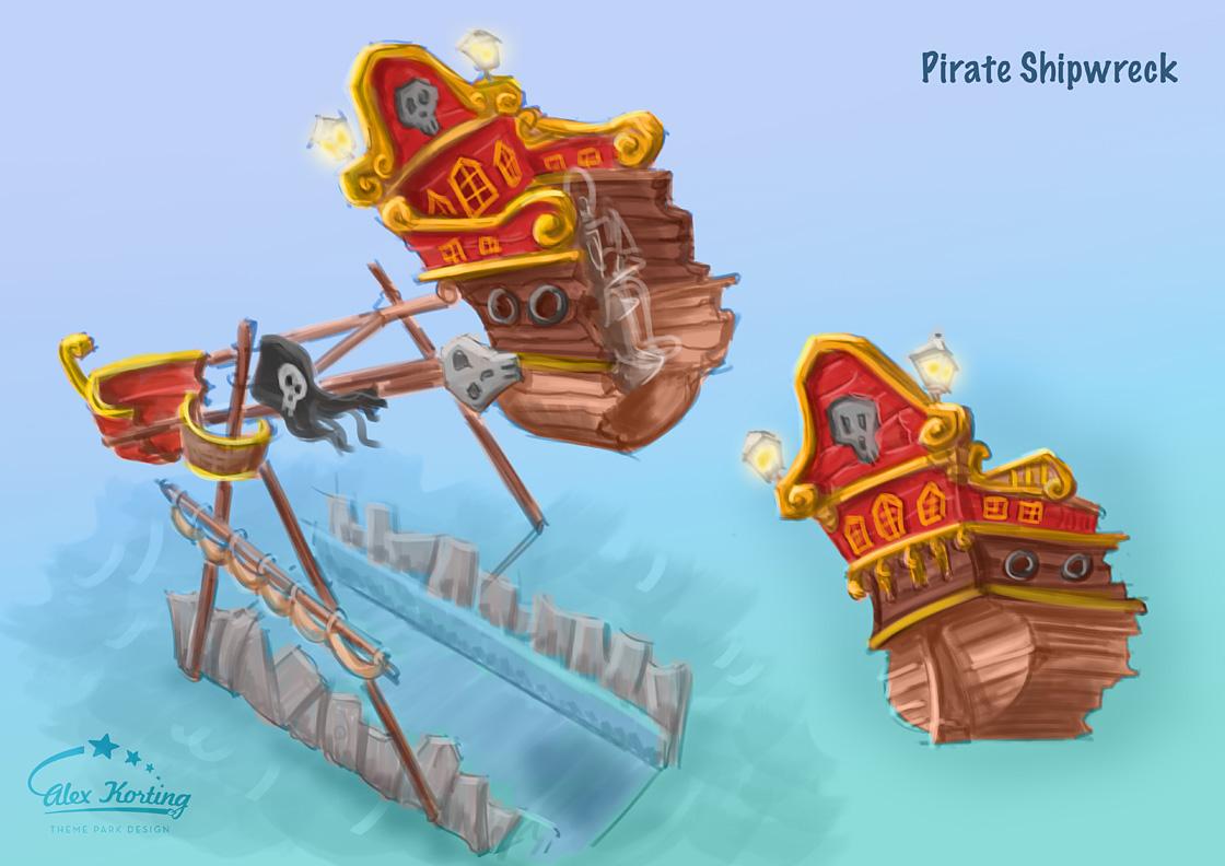 Piratenschiff Thematisierung des Jungle Loop Fahrgeschäfts.