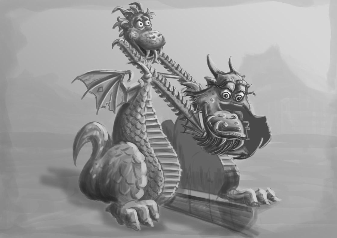 Graustufen Zeichnung eines doppelköpfigen Drachen als Schaukel-Attraktion.