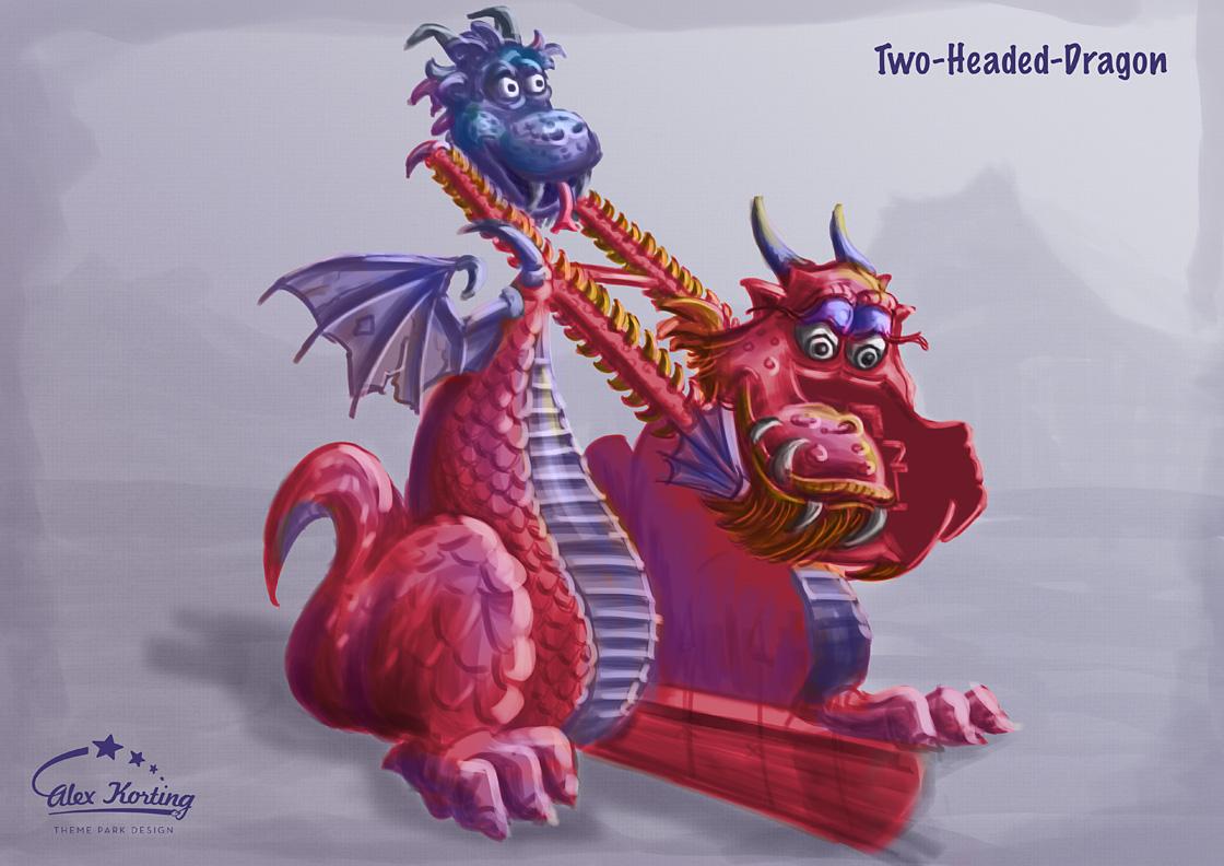 Farbzeichnung der Drachen Attraktion.