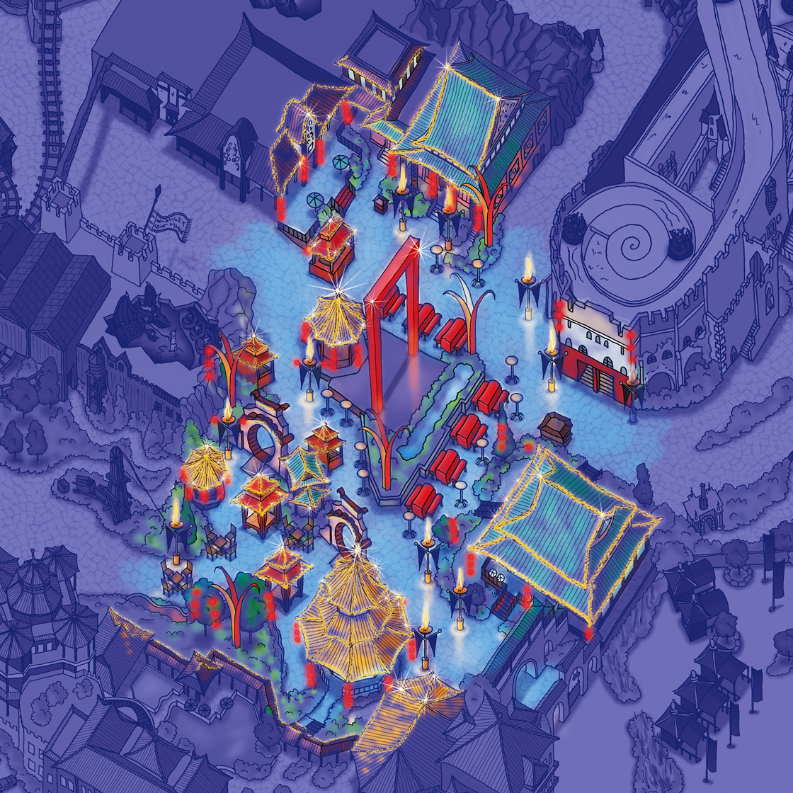 Asia Nights Park Map Design Phantasialand