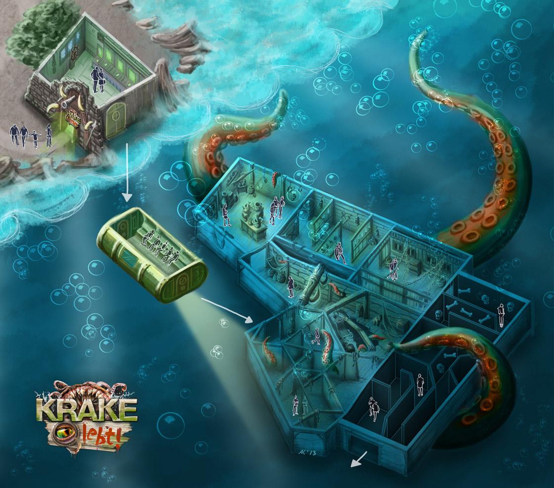 Illustration für Krake lebt Attraktion im Heide Park für IMAscore