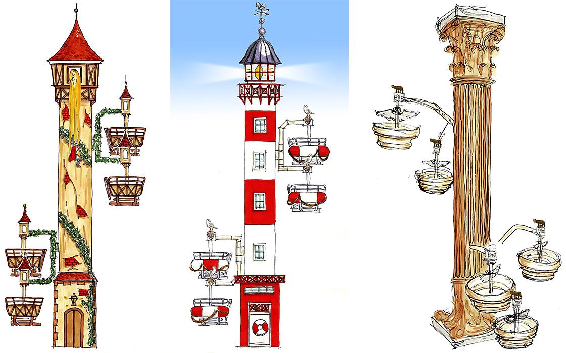 Metallbau Emmeln Flying Wheels mit Rapunzelturm, Leuchtturm und Römischer Säule