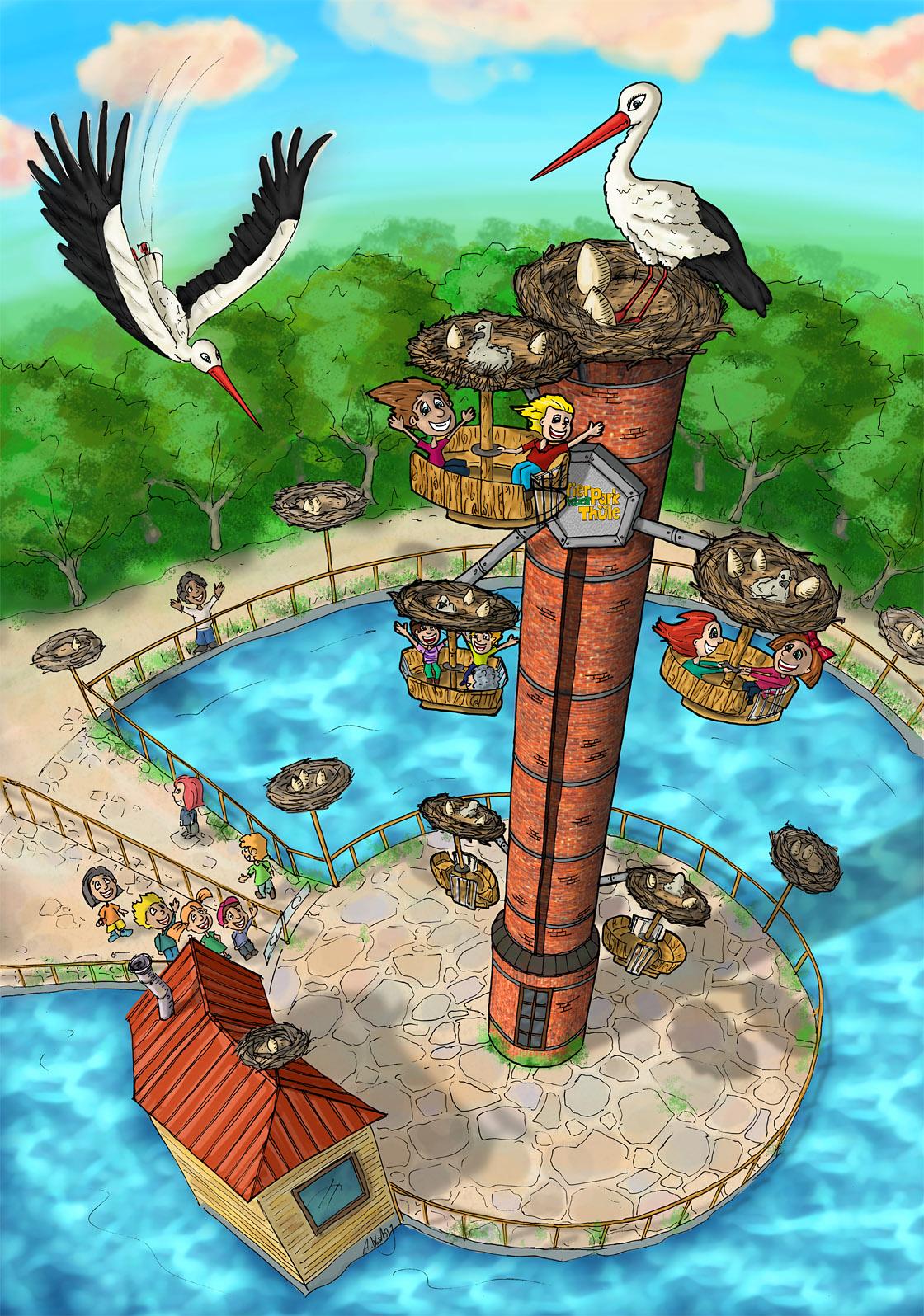 Storchenturm Werbegrafik für Tierpark Thüle
