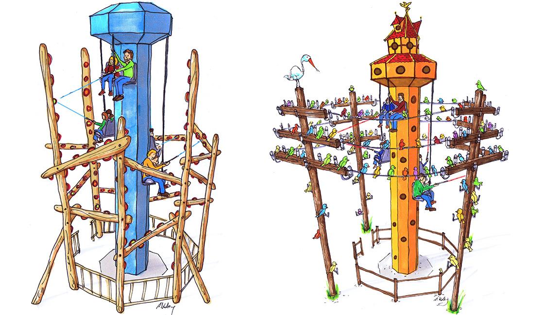 Interaktiver Heege Turm in simpler Variante und Vogelhaus