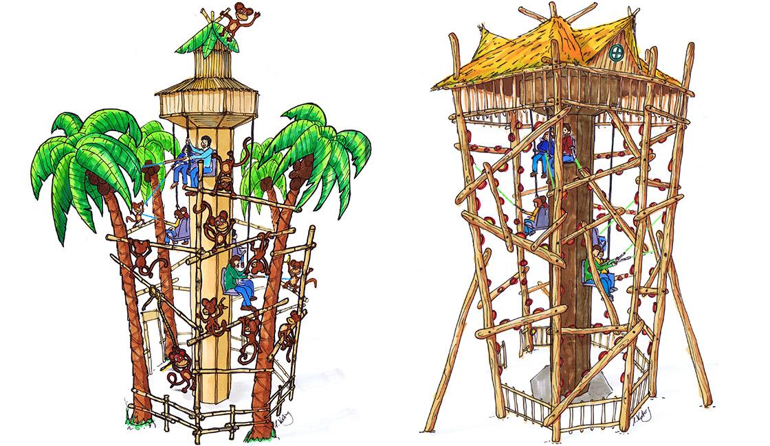 Interaktiver Heege Turm als karischer Palmenturm und Baumhaus