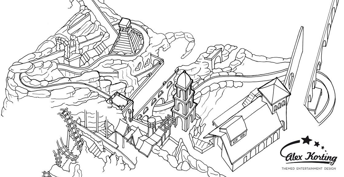 Parkplan Phantasialand 2014 Chiapas Reinzeichnung