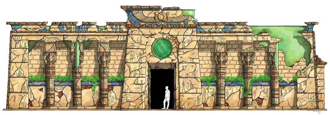 Design ägyptisch thematisiertes Restaurant - Fassade coloriert