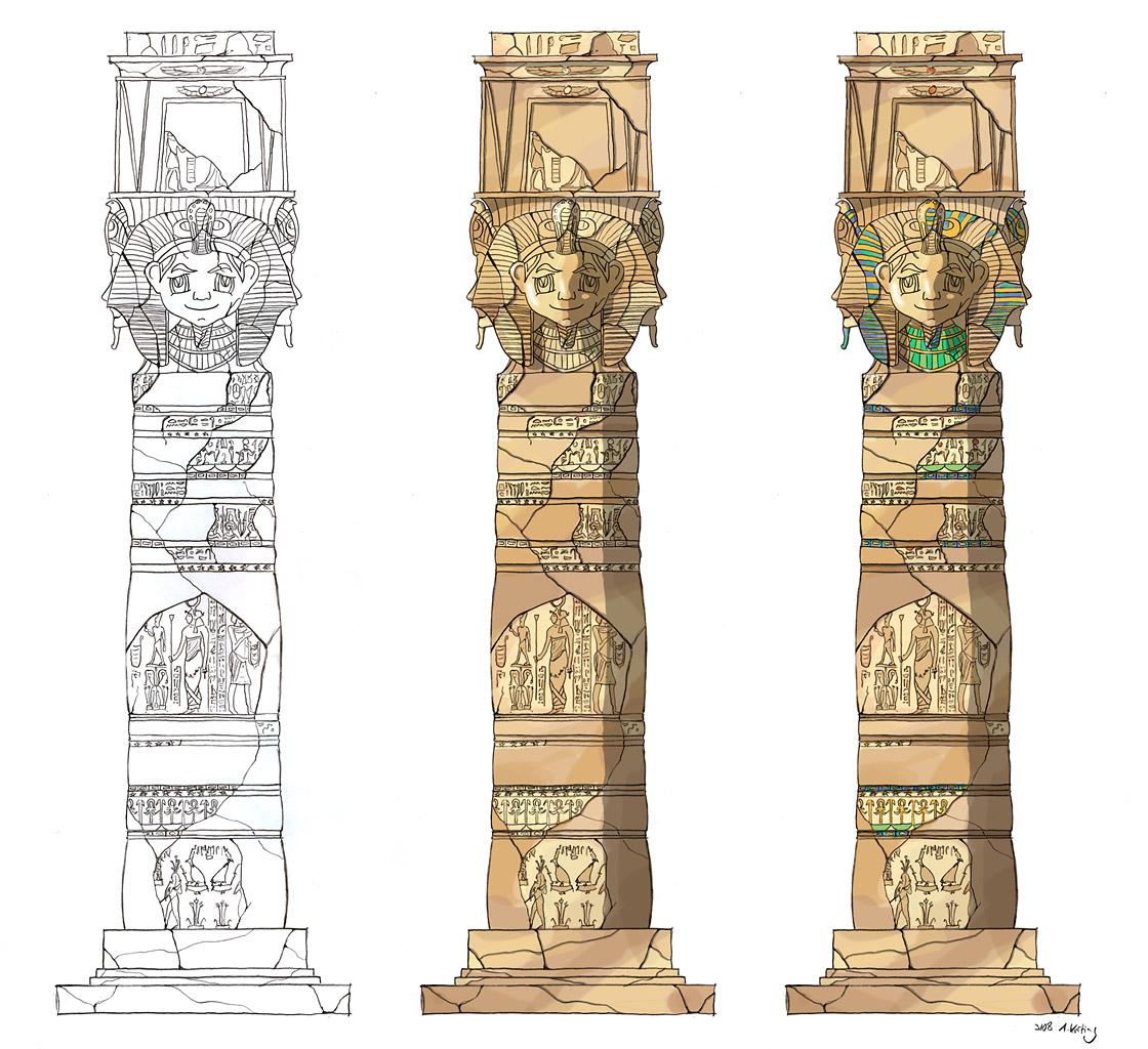 Design ägyptisch thematisiertes Restaurant - Säulen