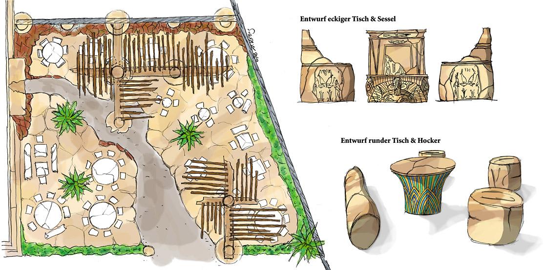 Design ägyptisch thematisiertes Restaurant - Außenbereich