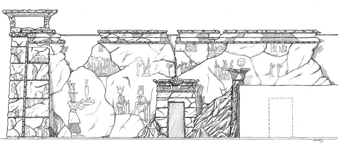 Design ägyptisch thematisiertes Restaurant - Seitenwand