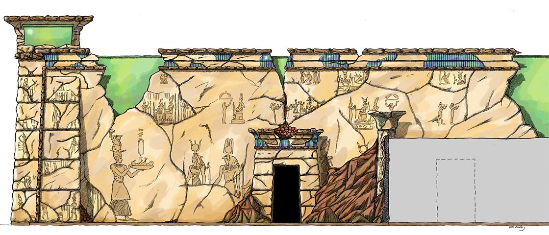 Design ägyptisch thematisiertes Restaurant - Seitenwand coloriert