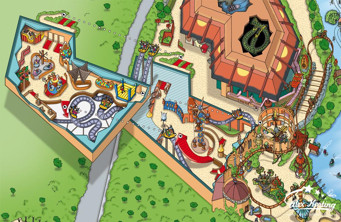 Parkplan Phantasialand 2014 Wuze Town Gesamtansicht