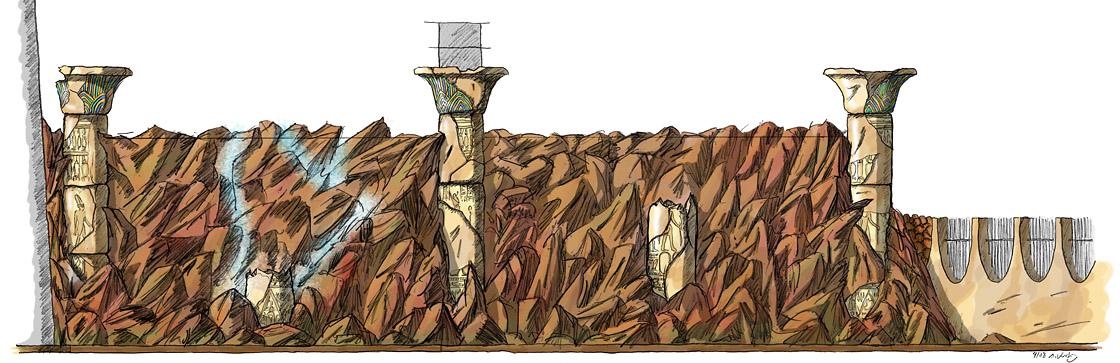 Design ägyptisch thematisiertes Restaurant - Felswand